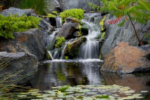Calming and Beautiful Cascading Backyard Waterfalls from Great Lakes Pondscapes